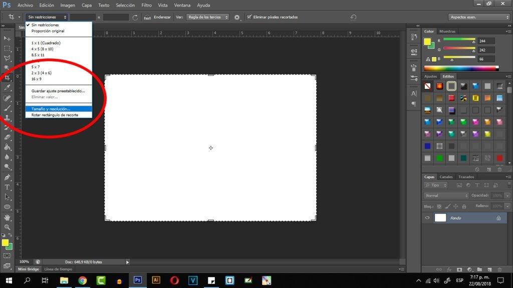 como recortar una imagen en photoshop